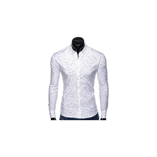 e7268e7c9d25c3 Koszula męska Ombre Clothing młodzieżowa z długim rękawem biała w Domodi