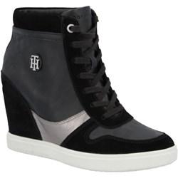 b1104e56a000c Sneakersy damskie Tommy Hilfiger na koturnie na wiosnę młodzieżowe  sznurowane gładkie