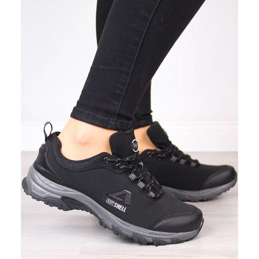 033bd7efd9752 ... Czarne buty trekkingowe damskie American Club płaskie sportowe sznurowane  gładkie ...