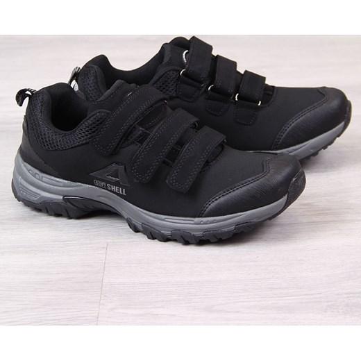 46364ec3a0ac4 American Club buty trekkingowe damskie sportowe czarne płaskie na rzepy ...