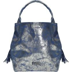 f6196a639098a Niebieska torebka Worek średniej wielkości boho z frędzlami