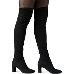 008bf7793ec0 Kozaki damskie Neścior z zamkiem za kolano eleganckie czarne