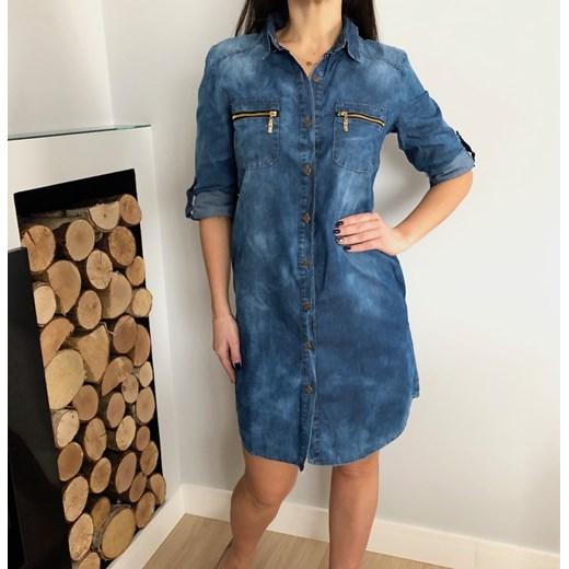 8565d75d3a ... Sukienka Ubieramymodnie.pl w miejskim stylu na co dzień koszulowa bez  wzorów jeansowa