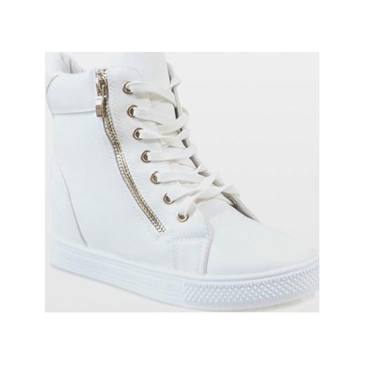 3176f9826fe0f Sneakersy damskie młodzieżowe białe wiązane w Domodi