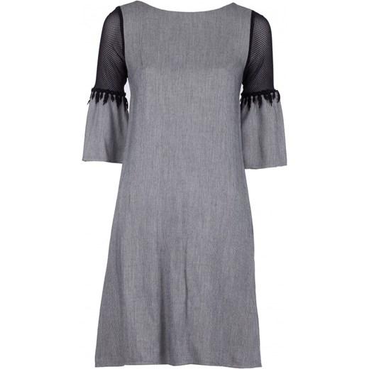 6a5a375249 Sukienka Vissavi z krótkim rękawem szara elegancka oversize z dekoltem w  łódkę  Sukienka Vissavi mini ...