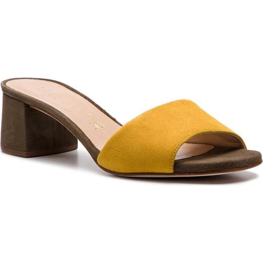 f660b918605d4 Żółte klapki damskie Unisa ze skóry na obcasie bez zapięcia w Domodi