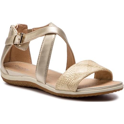Sandały damskie złote Geox w abstrakcyjne wzory płaskie casual Buty Damskie HA złoty Sandały damskie USPD