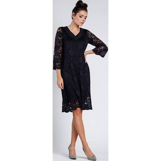 192aa21434 Sukienka Pepe oversize owa elegancka na bal koronkowa midi w Domodi