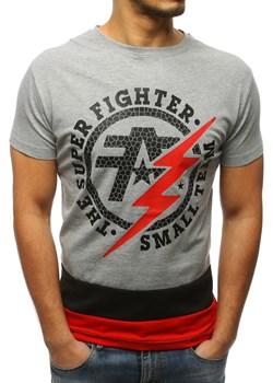 T-shirt męski z nadrukiem szary (rx3070)  Dstreet  - kod rabatowy