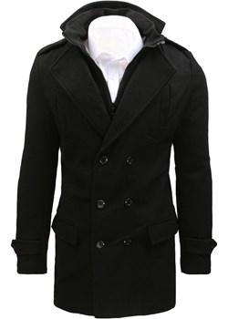 Płaszcz męski czarny dwurzędowy (cx0392)  Dstreet  - kod rabatowy