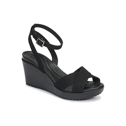 c4699d10 Sandały damskie Crocs na koturnie na średnim obcasie casual czarne z klamrą  z gumy bez wzorów