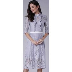 4c91ad8a1d Pepe sukienka dopasowana szara z długim rękawem z okrągłym dekoltem na  wesele