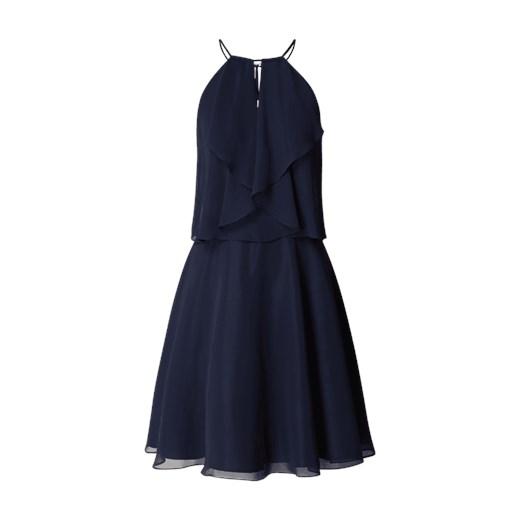 5a7baff20e Sukienka Swing na sylwestra bez wzorów na ramiączkach mini z okrągłym  dekoltem