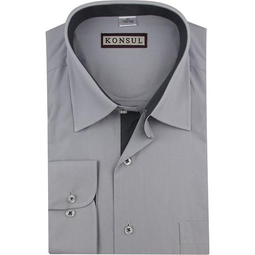 057ca9c36f555 Koszula męska Konsul gładka z klasycznym kołnierzykiem z długimi rękawami szara  elegancka ...
