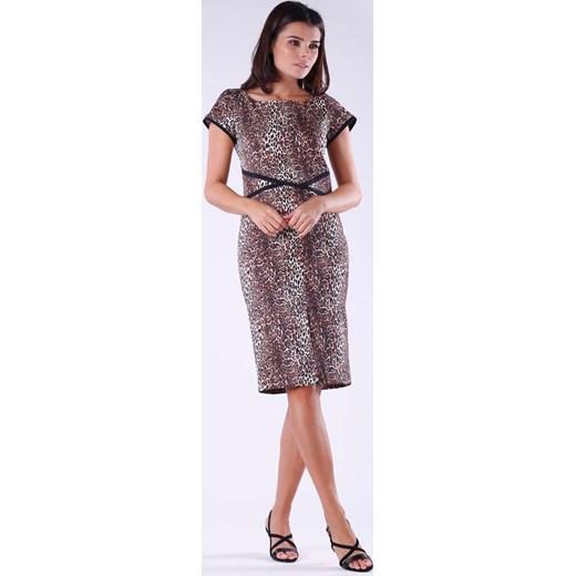 435a94637d Elegancka Ołówkowa Sukienka w Panterkę z Kontrastowymi Elementami Nommo S  MOLLY.
