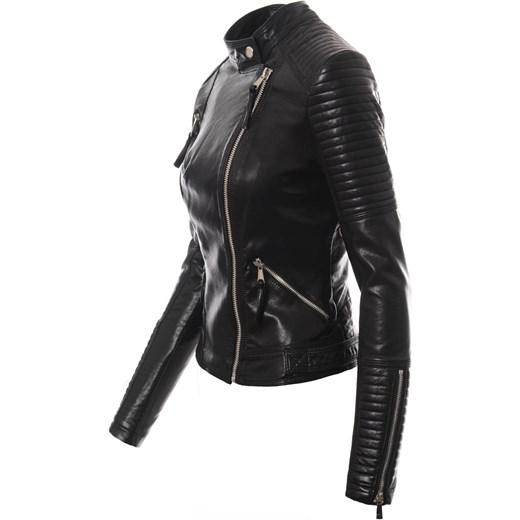 df1d2a65a08d6 ... czarna  Kurtka damska bez kaptura gładka w rockowym stylu krótka ...