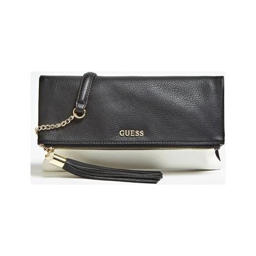 b46516aec538f Kopertówka czarna Guess w stylu glamour z frędzlami na ramię w Domodi
