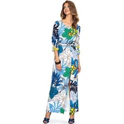 558ae42124 Sukienka L af na spacer trapezowa wielokolorowa w kwiaty maxi