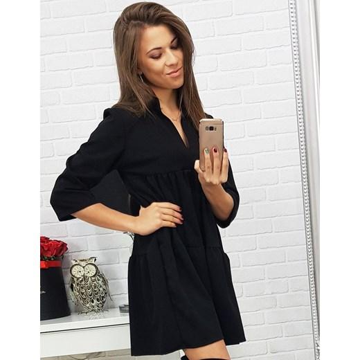 4458528137 Dstreet sukienka z długimi rękawami granatowa z dekoltem v na wiosnę mini  prosta