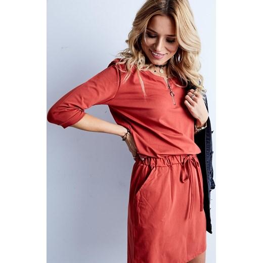 deeff975d6 ... Sukienka bawełniana z zameczkiem przy dekolcie pomarańczowa Yups L ...