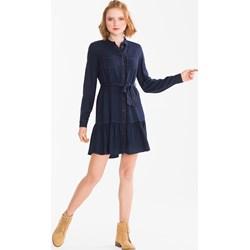 71e7f10f63 Sukienka Clockhouse z wiskozy mini niebieska bez wzorów z kołnierzykiem  koszulowa