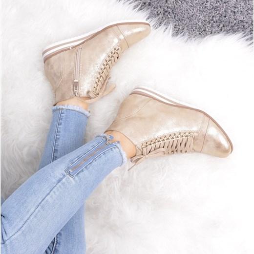 Sneakersy damskie złote gładkie sznurowane