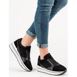79359504f567 Sneakersy damskie czarne Czasnabuty.pl gładkie na płaskiej podeszwie