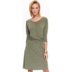 df6ef9662fb52f Sukienka Top Secret z długim rękawem midi do pracy z dekoltem v