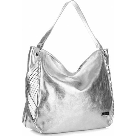 99d1eb8aab9cd Uniwersalne Torebki Skórzane ShopperBag firmy Vittoria Gotti Srebrna  Vittoria Gotti wyprzedaż torbs.pl
