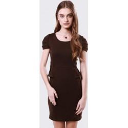 061ca1283e Sukienka Born2be z krótkim rękawem dopasowana mini bez wzorów