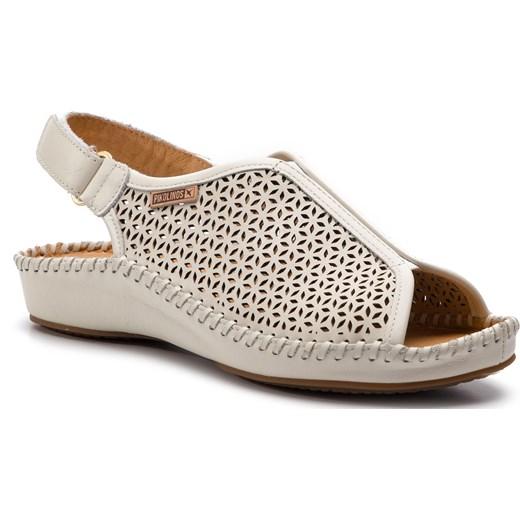 Sandały damskie Pikolinos na koturnie casual białe na rzepy z tworzywa sztucznego bez wzorów Buty Damskie YZ biały Sandały damskie CLPM