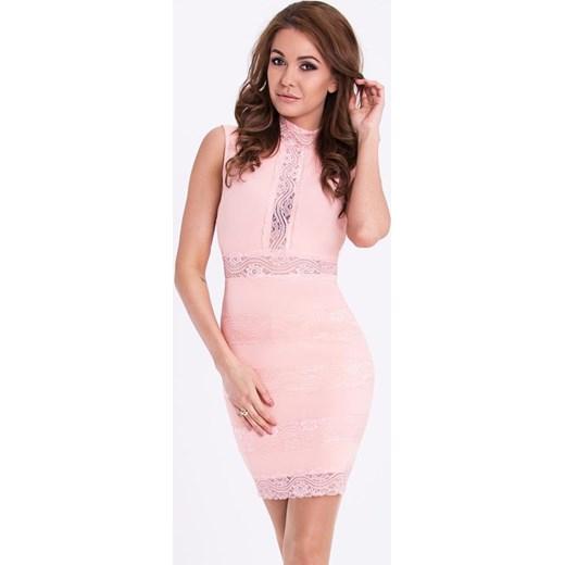 dbe58e117e Sukienka Emamoda na urodziny różowa mini dopasowana w Domodi