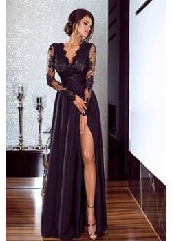 Długa Sukienka LUNA koronkowa - Czarny  Emo Sukienki Pawelczyk24.pl promocyjna cena  - kod rabatowy