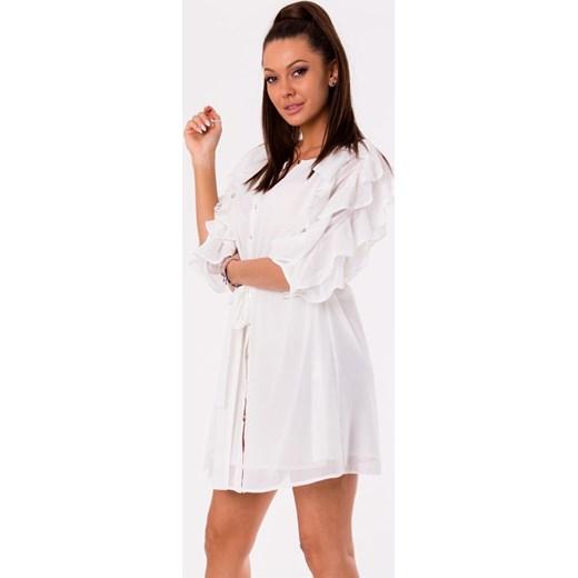df3096be Biała sukienka Ciminy na co dzień koszulowa bez wzorów z długim rękawem z  okrągłym dekoltem