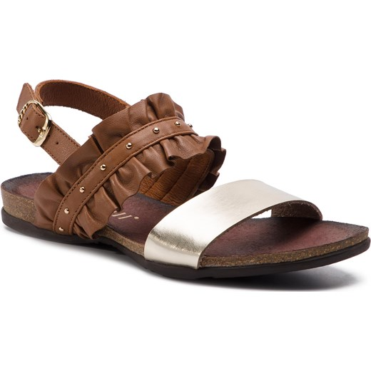 Sandały damskie Carinii na płaskiej podeszwie z tworzywa sztucznego casual Buty Damskie CA brązowy Sandały damskie HDTL