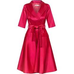 8cb7c96348 Sukienka różowa z krótkim rękawem bez wzorów midi
