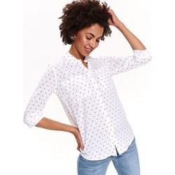 d2edf8fb4c1f89 Koszula damska Top Secret z długim rękawem biała z kołnierzykiem