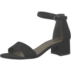 3c10873d918a57 Tamaris sandały damskie na słupku granatowe eleganckie z niskim obcasem z  klamrą