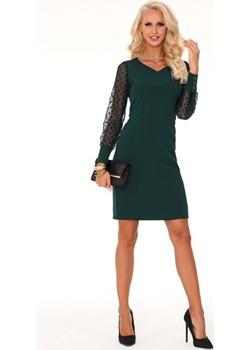Ciemno Zielona Wizytowa Sukienka z Tiulowym Rękawem Merribel  MOLLY.PL - kod rabatowy