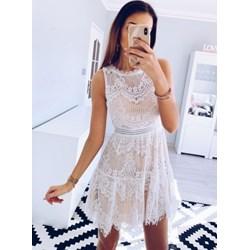 1c4085441b Pakuten sukienka biała bez rękawów z okrągłym dekoltem na ślub cywilny