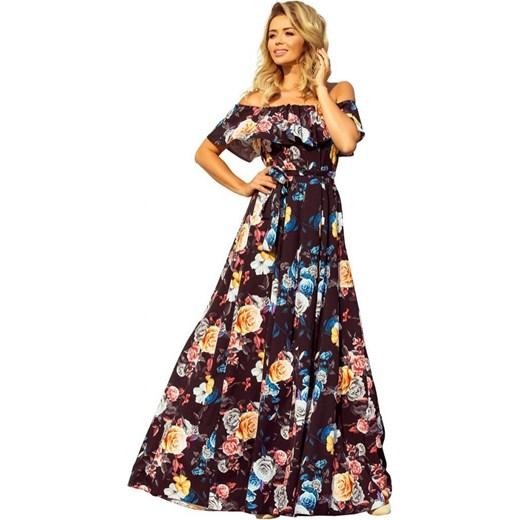 b4a9e48059 ... Sukienka Numoco z krótkim rękawem na spacer z dekoltem typu hiszpanka z  odkrytymi ramionami ...