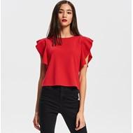 00b63a5149 Bluzka damska Reserved z krótkim rękawem czerwona bez wzorów z okrągłym  dekoltem