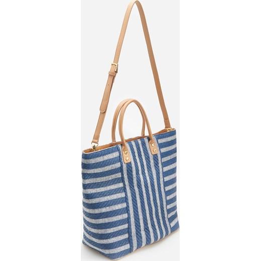 03d9b38cdbebc Shopper bag niebieska Reserved duża bez dodatków na wakacje na ramię ...