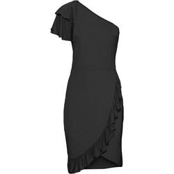 a3560ce396 Sukienka czarna Bodyflirt Boutique na sylwestra bez wzorów midi z  asymetrycznym dekoltem z krótkimi rękawami