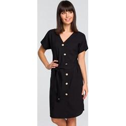 f78339524834 Czarna sukienka Bee biznesowa z krótkimi rękawami