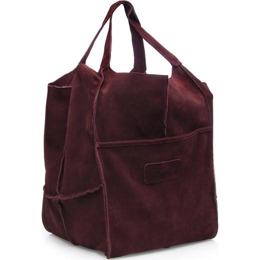 f38548ef75ca9 Shopper bag Arturo Vicci do ręki skórzana bez dodatków zamszowa ...