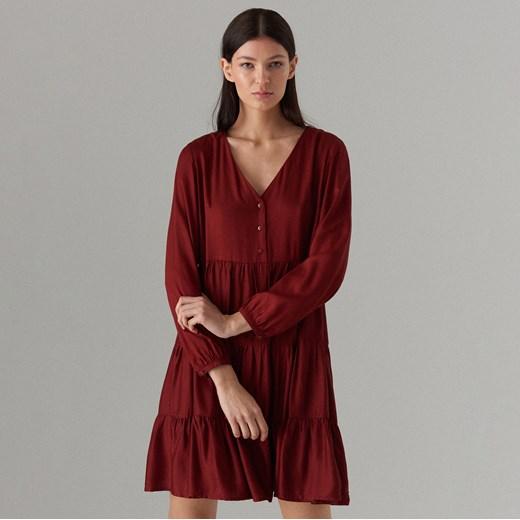 086db05d3c Mohito - Sukienka oversize z długimi rękawami - Bordowy Mohito 44 ...