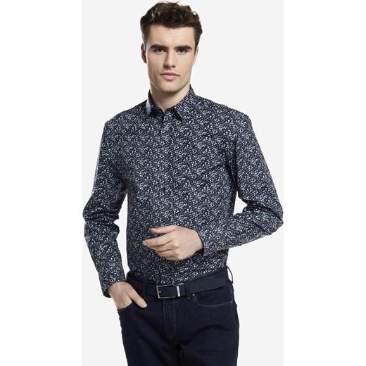 Koszula męska Wólczanka w abstrakcyjnym wzorze z długim