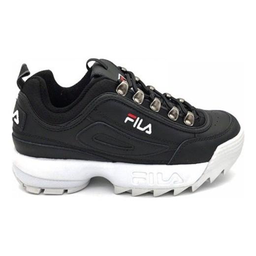 Sneakersy damskie czarne Fila sznurowane sportowe bez wzorów