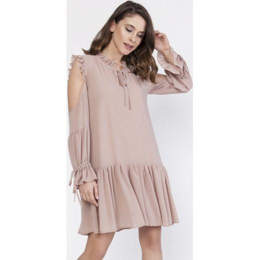 bc992d41ce Sukienka Milena Płatek z długim rękawem bez wzorów na co dzień w Domodi